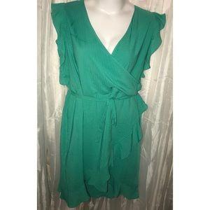 Dazzling Jade faux wrap ruffle dress